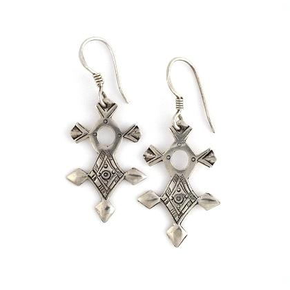 Cercei cruce tuaregă In-Abagret mică, argint
