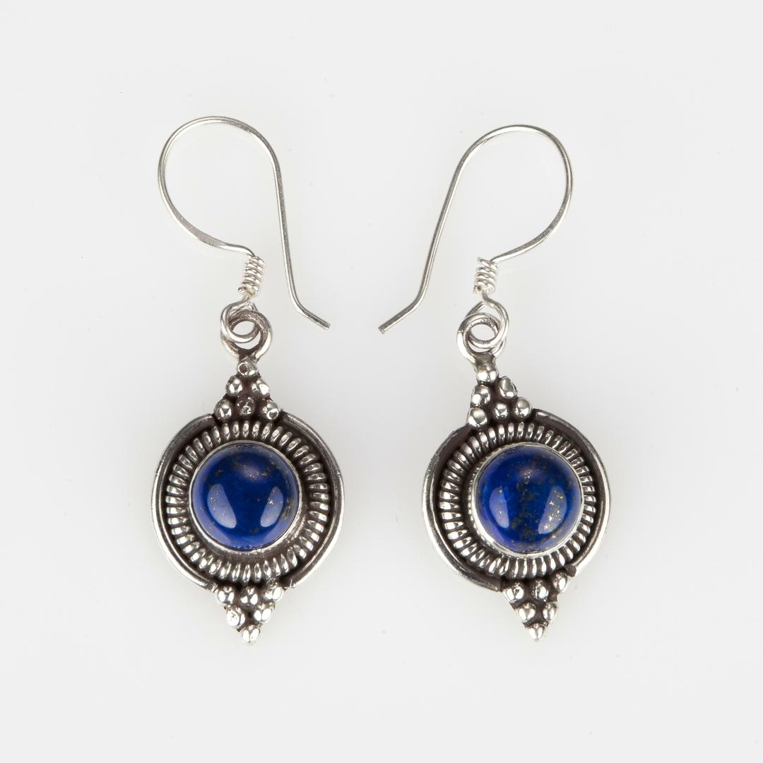 Cercei Dharma mici, rotunzi, argint și lapis lazuli, Nepal