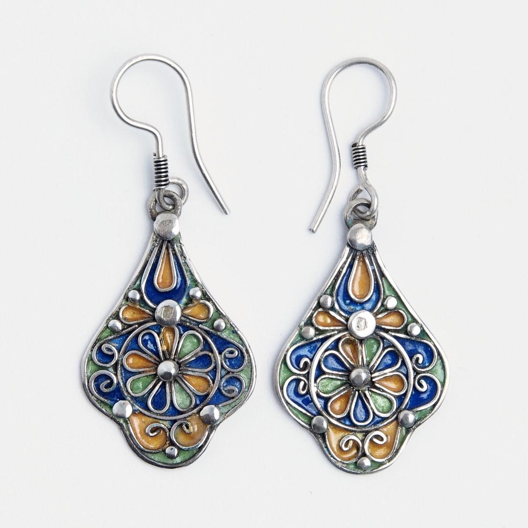 Cercei floare Fez, argint și email, Maroc