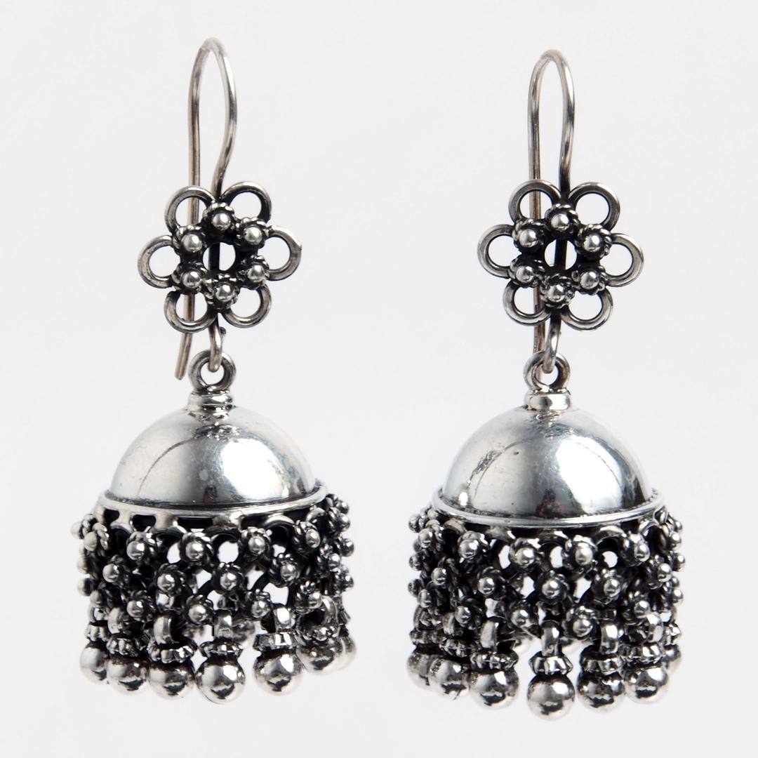 Cercei floricele jhumka, argint, India