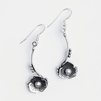 Cercei floricică Sikar, argint și perle de cultură, India