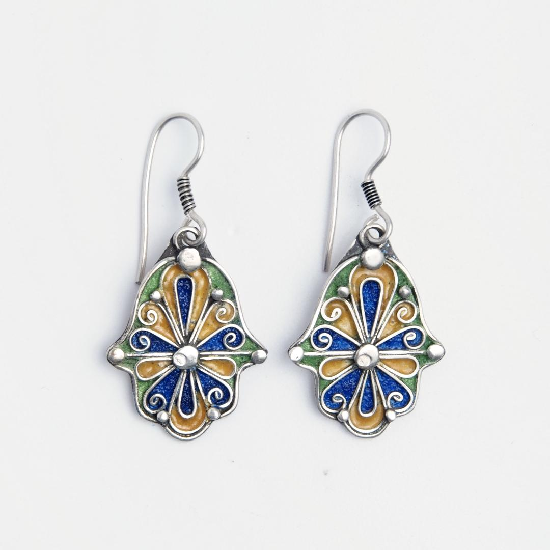 Cercei hamsa Fatima, argint și email albastru, verde și galben, Maroc