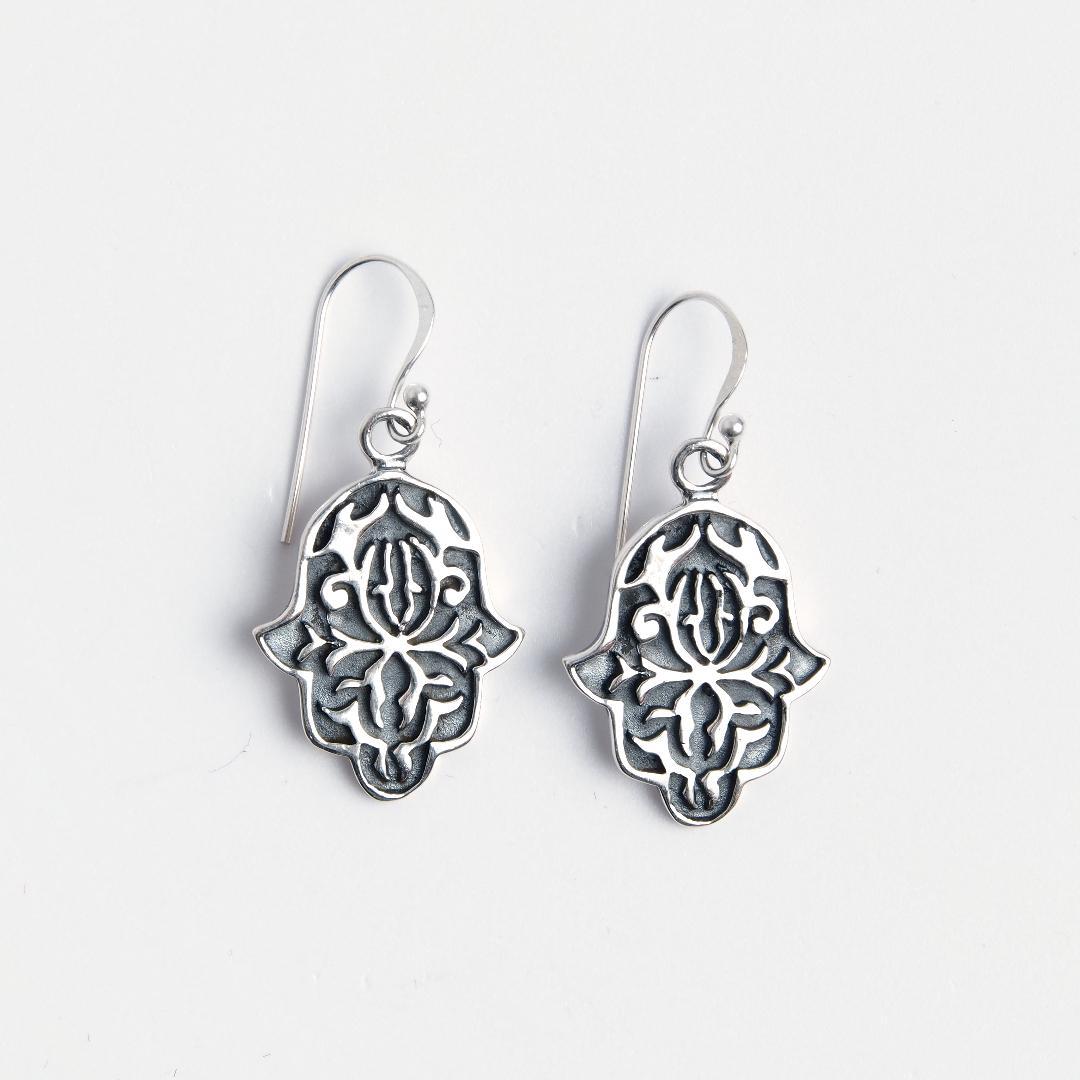Cercei hamsa Sufi, argint, Maroc