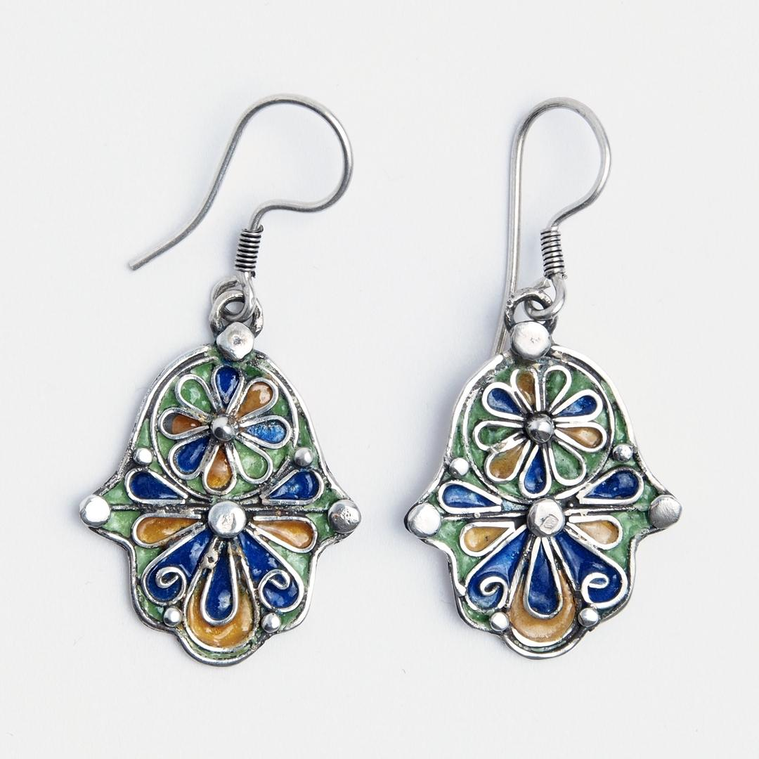 Cercei hamsa Taroudant, argint și email, Maroc