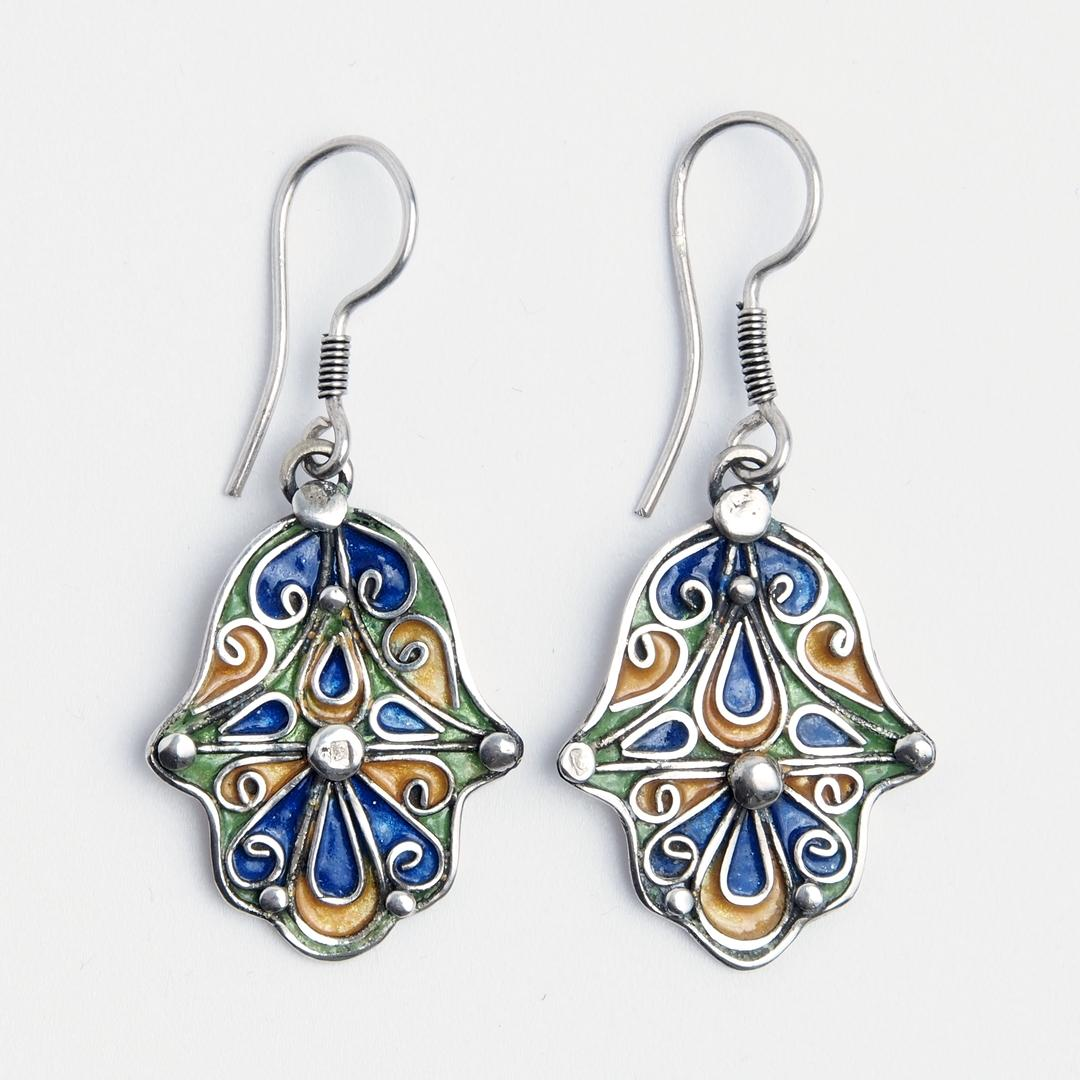 Cercei hamsa Tubkal, argint și email, Maroc