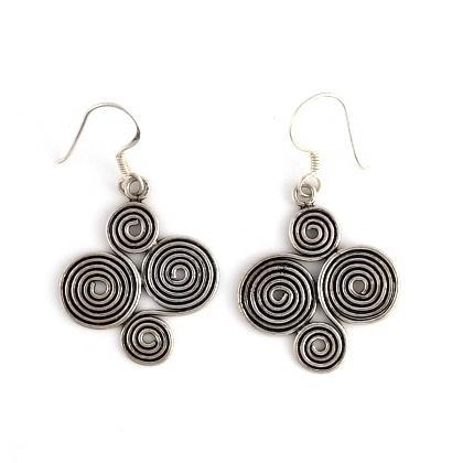 Cercei indieni spirală argint