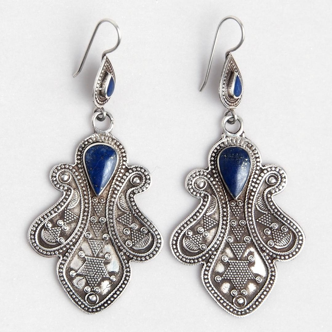 Cercei Kabul, argint și lapis lazuli, Afganistan
