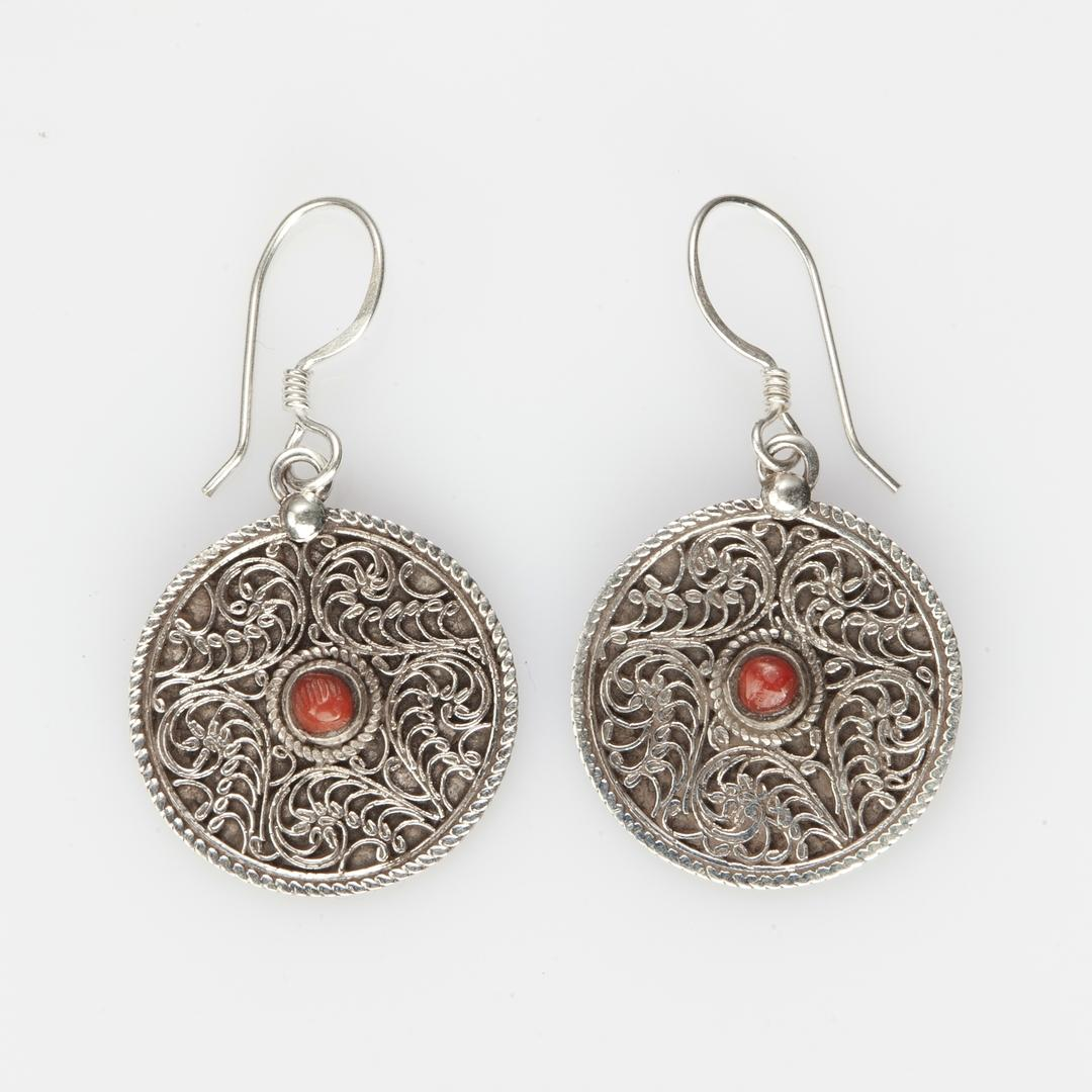 Cercei Kamma filigran, argint și coral, Nepal