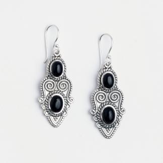 Cercei Khora, argint și onix negru, India