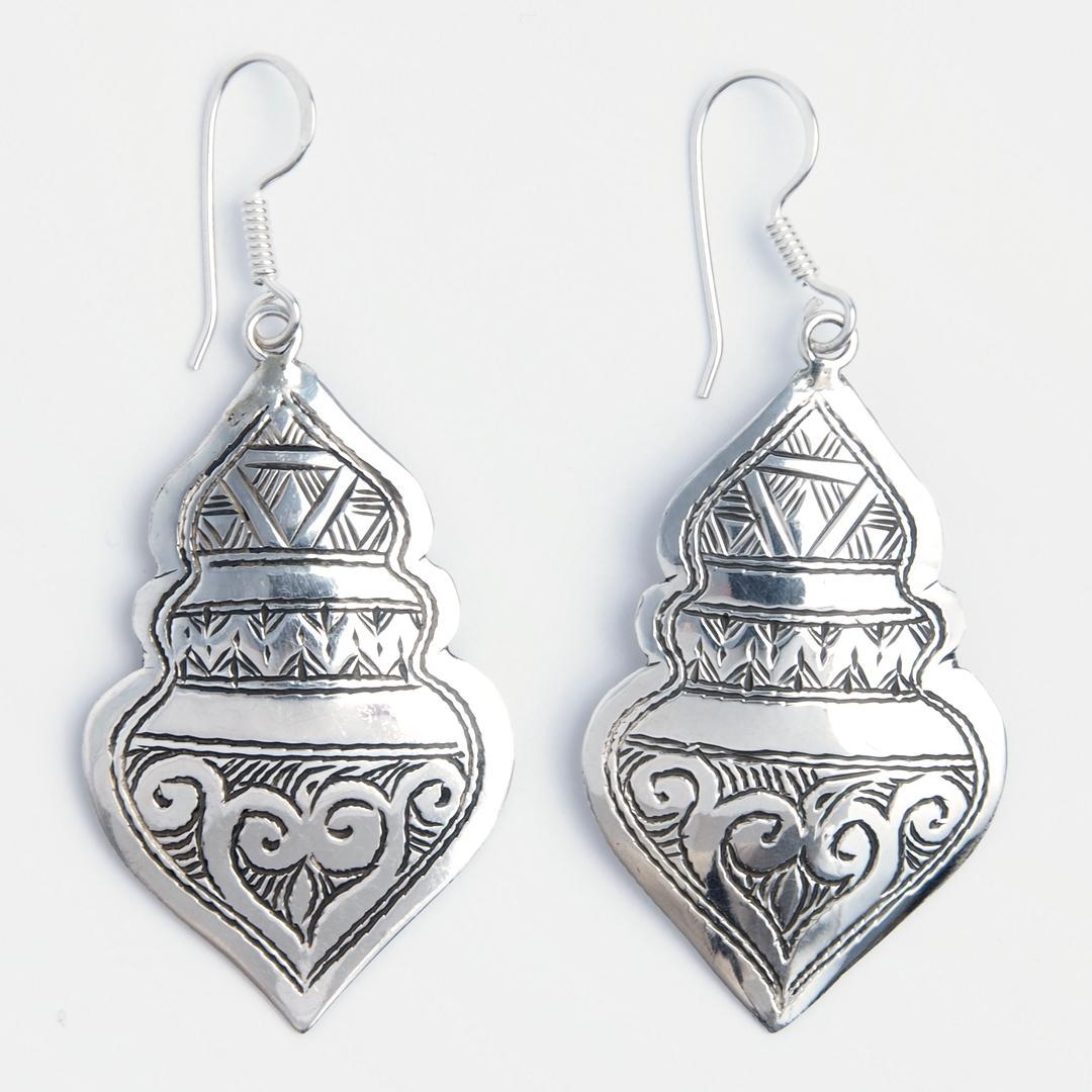 Cercei lungi Azalai, argint gravat, Niger