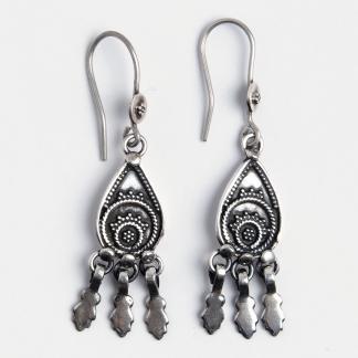 Cercei lungi ciucurași, argint, India
