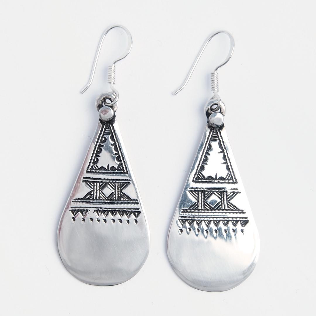 Cercei lungi Fezzan, argint gravat, Niger