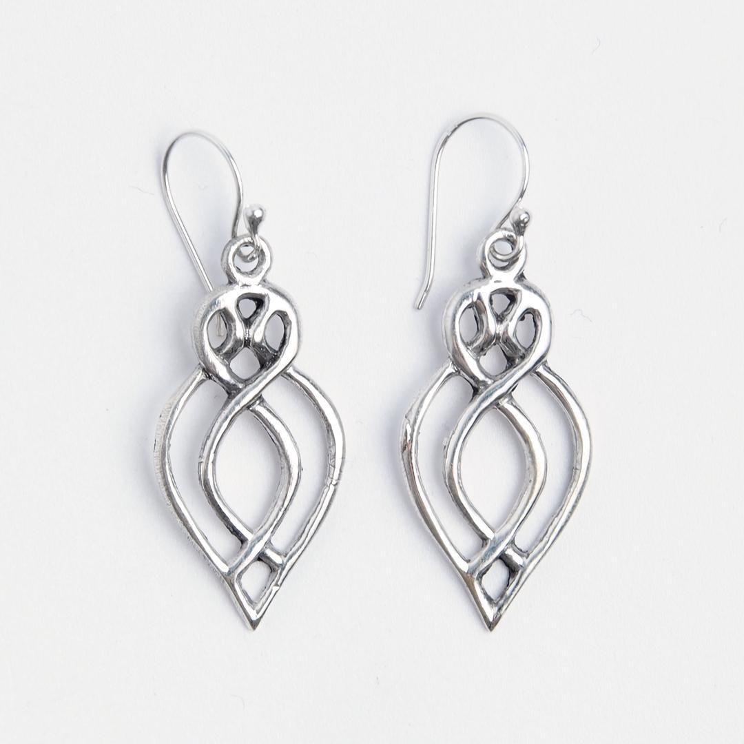 Cercei lungi nod celtic, argint