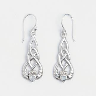 Cercei lungi simbol celtic Claddagh, argint și sidef