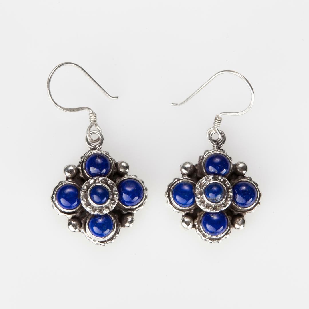 Cercei mandala lapis lazuli, argint, Nepal