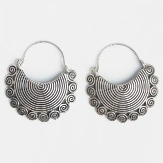 Cercei mari din argint cu spirale, Thailanda