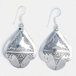 Cercei mari Kanouri, argint gravat, Niger