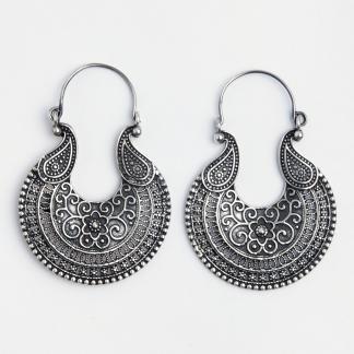 Cercei mari Madras, argint, India