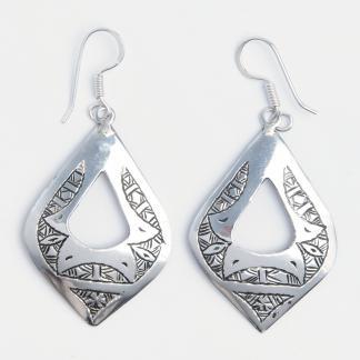 Cercei mari Nassarawa, argint gravat, Niger