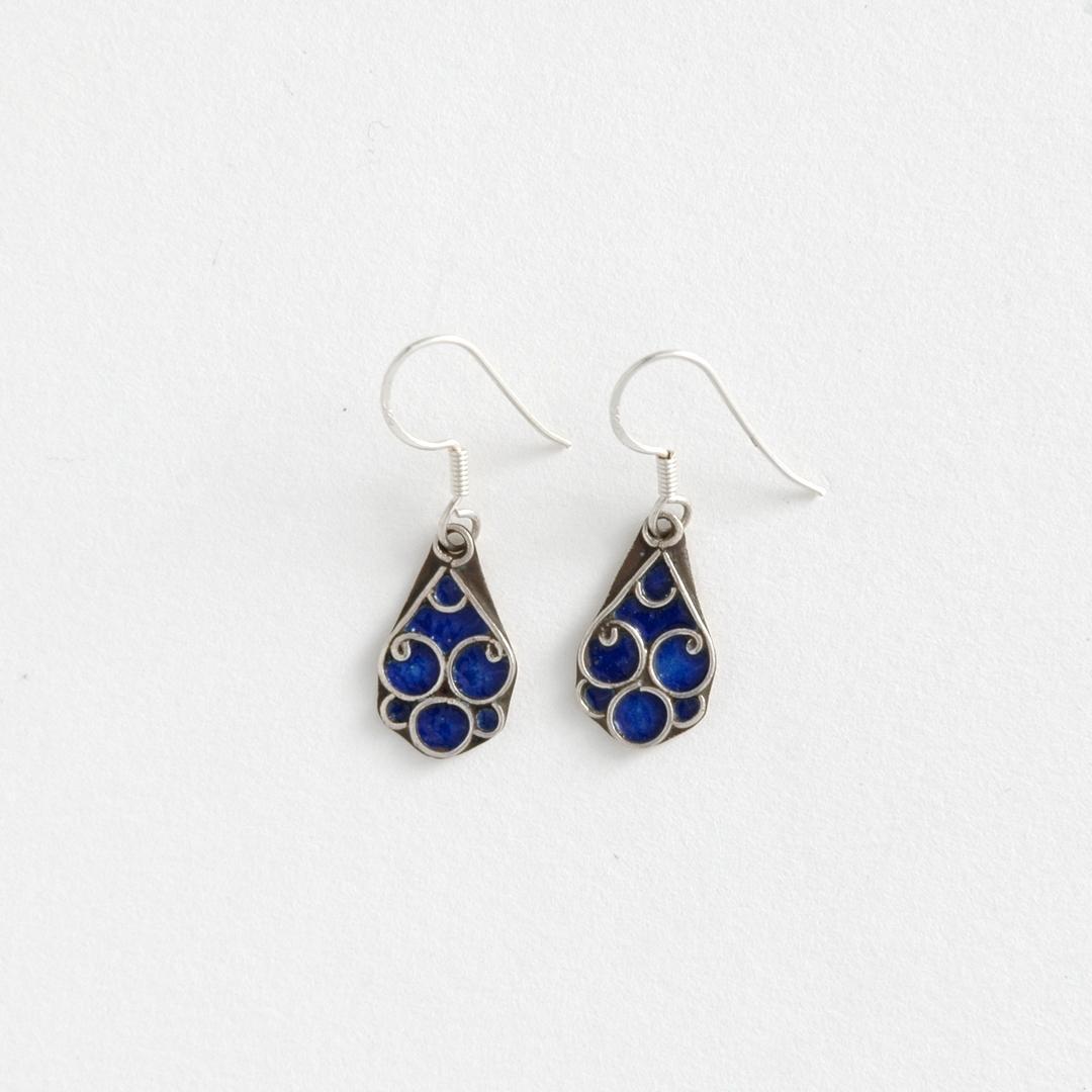 Cercei marocani floricică albastră, argint și email