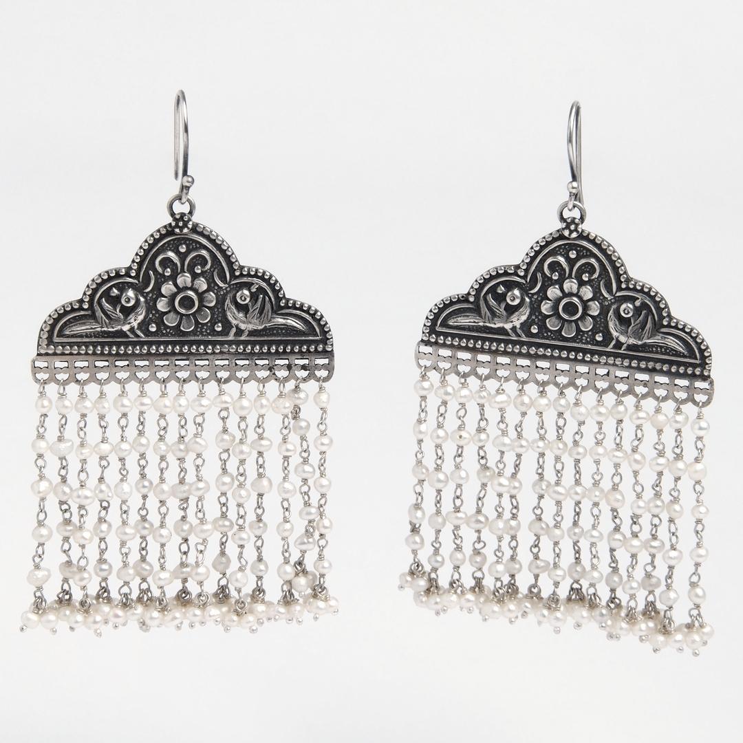Cercei Mayura, argint și perle, India