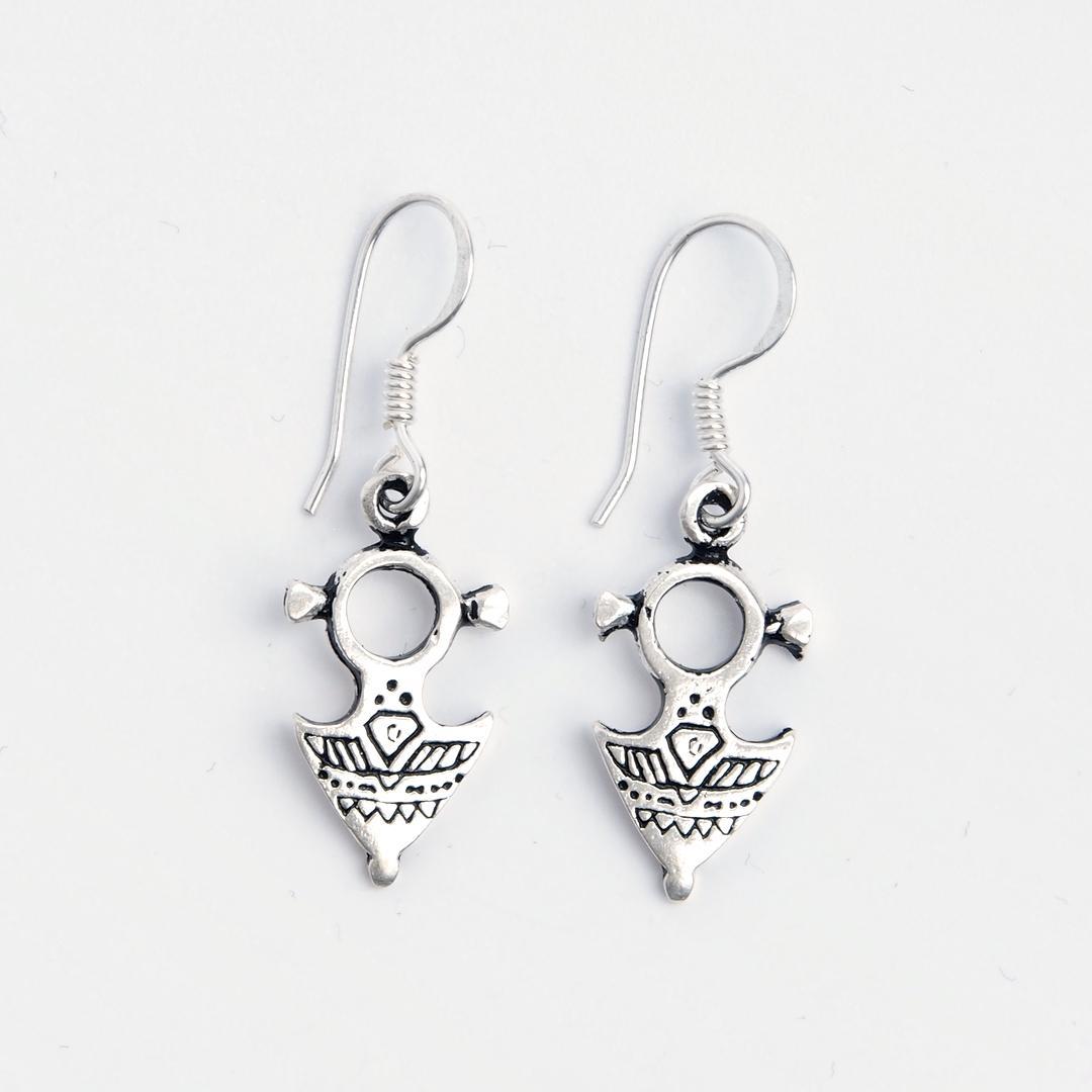 Cercei mici cruce tuaregă, argint gravat, Niger