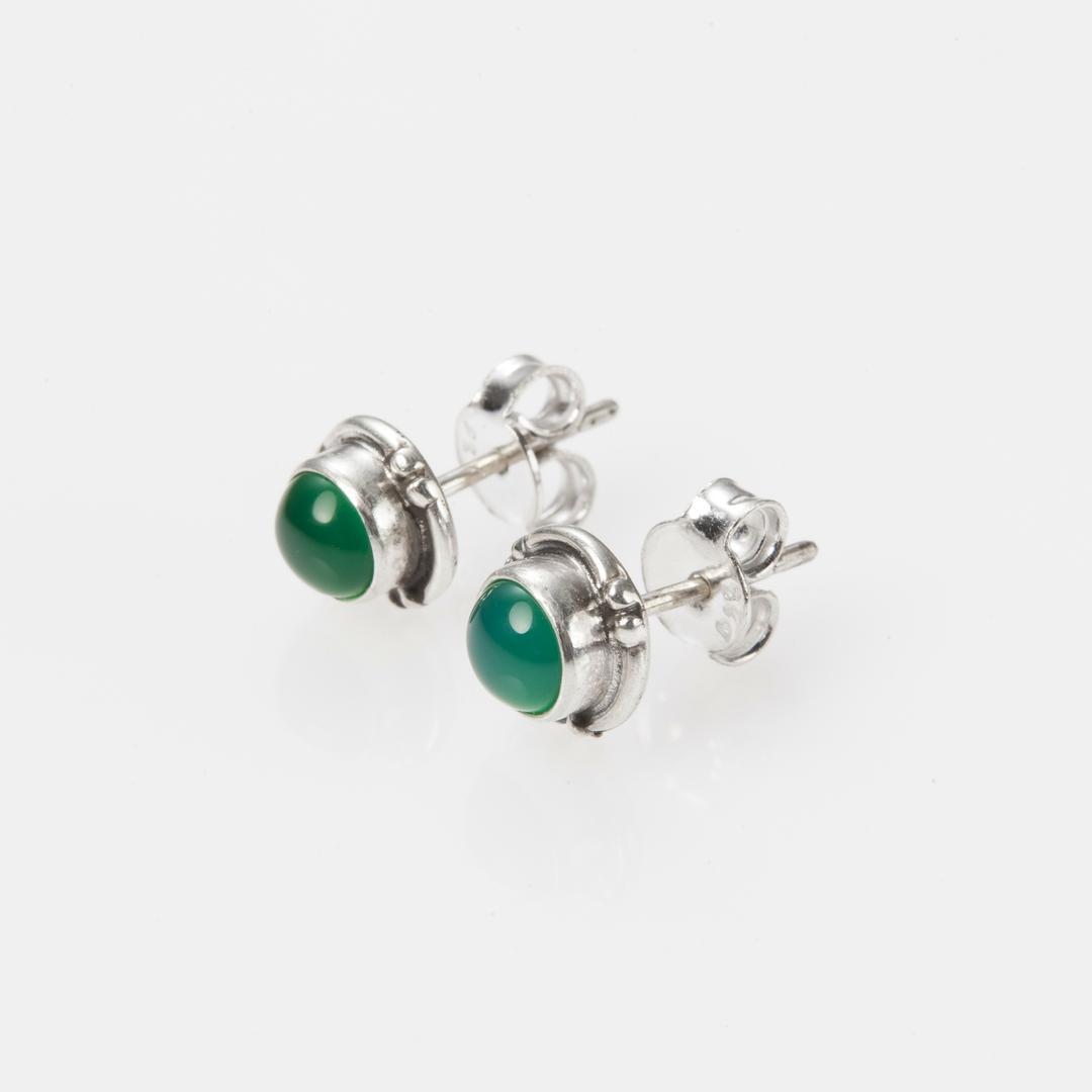 Cercei mici, rotunzi, șurub, onix verde, argint, India