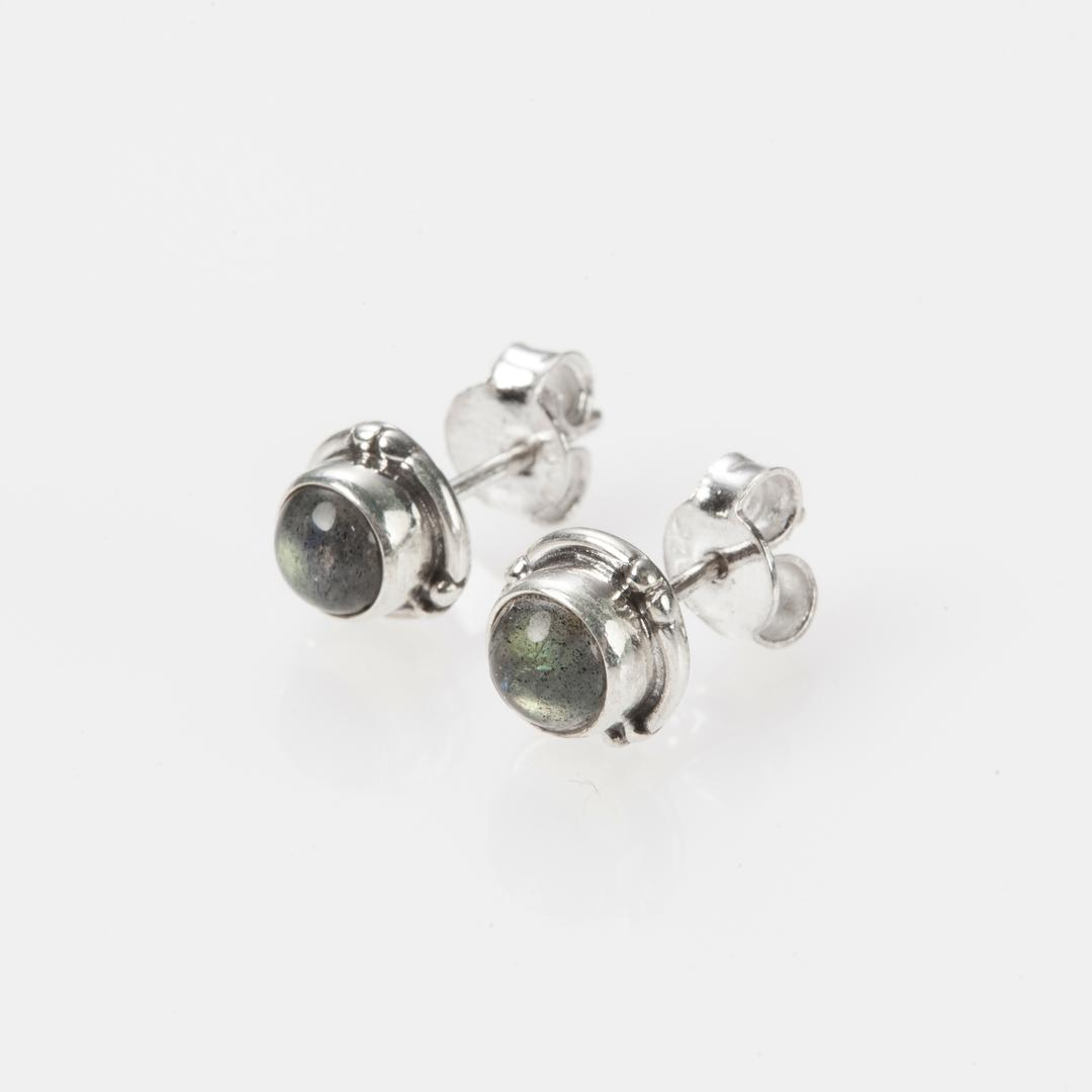 Cercei mici, rotunzi, șurub, labradorit, argint, India