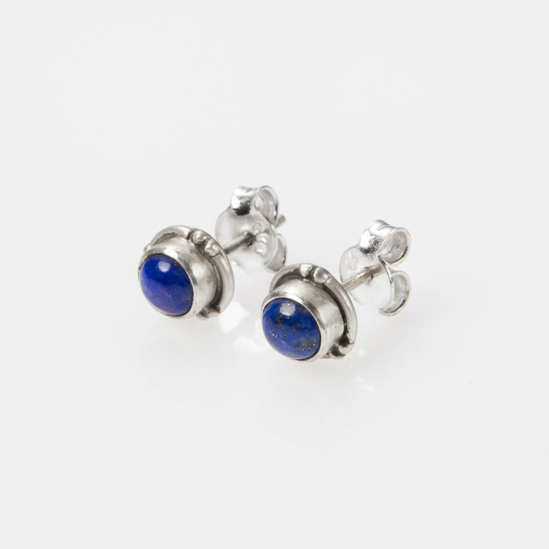 Cercei mici, rotunzi, șurub, lapis lazuli, argint, India