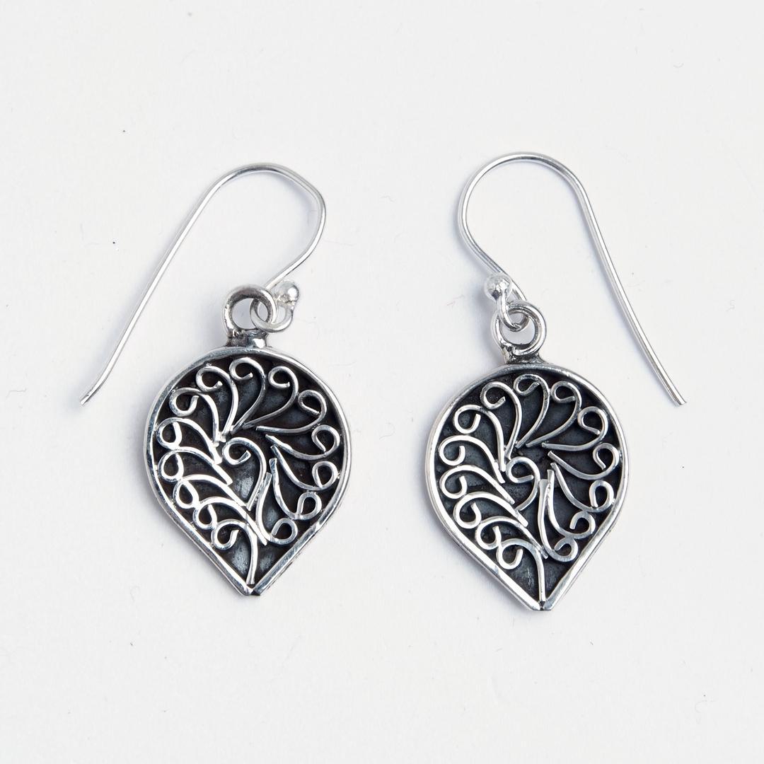 Cercei mici simbolul feminității Yoni, argint, India