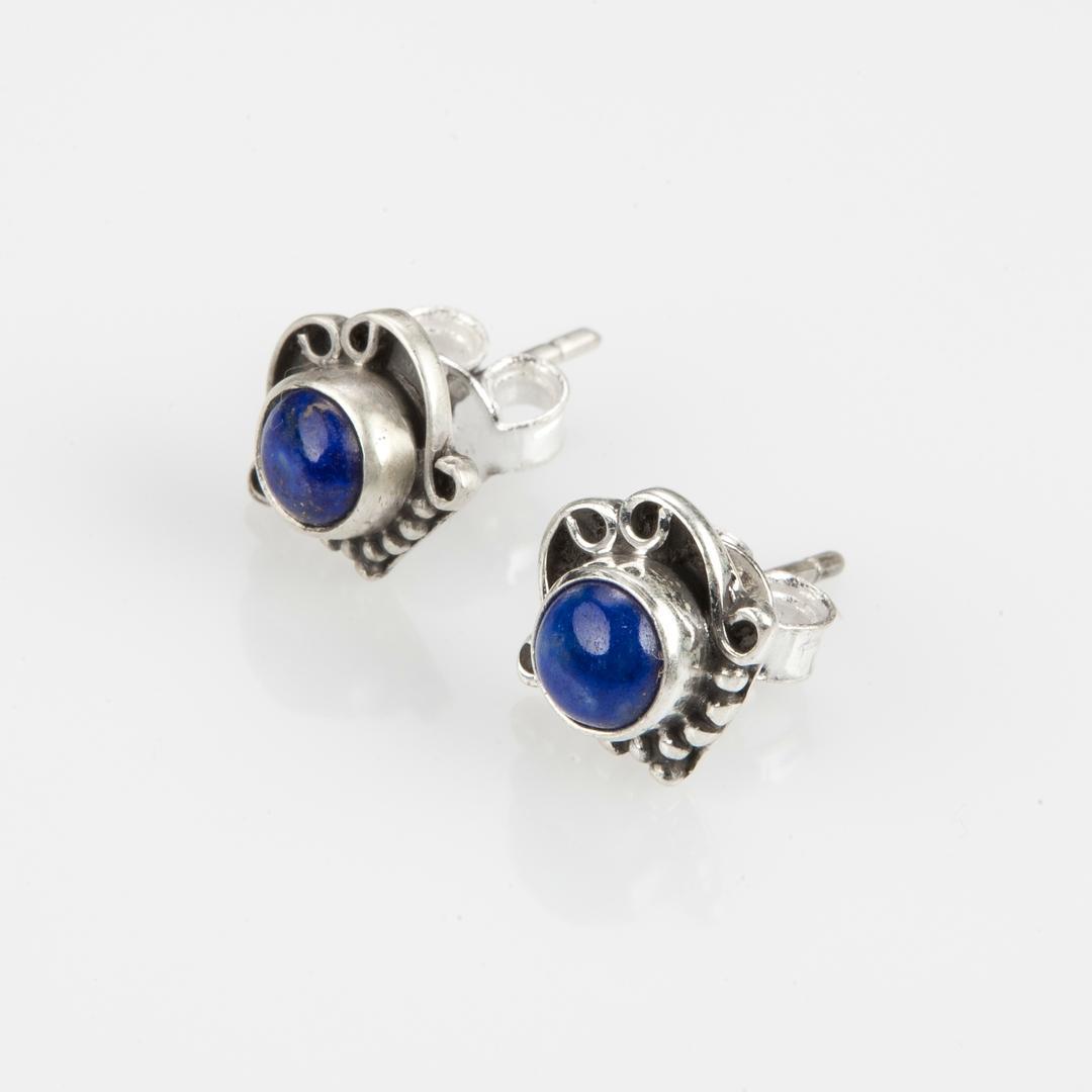 Cercei mici yoni, lapis lazuli, argint, India