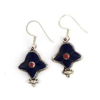 Cercei nepalezi argint, lapis lazuli și coral