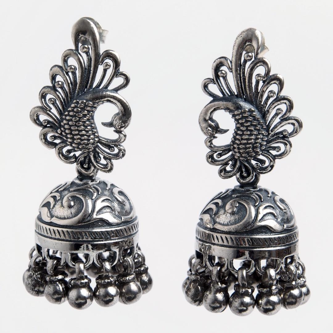 Cercei păun jhumka cu șurub, argint, India