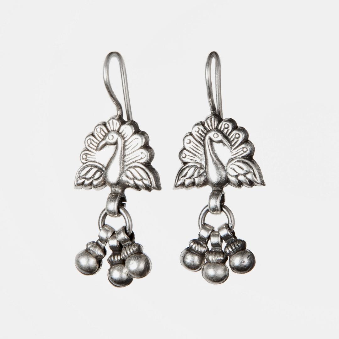 Cercei păuni, trei biluțe, argint, India