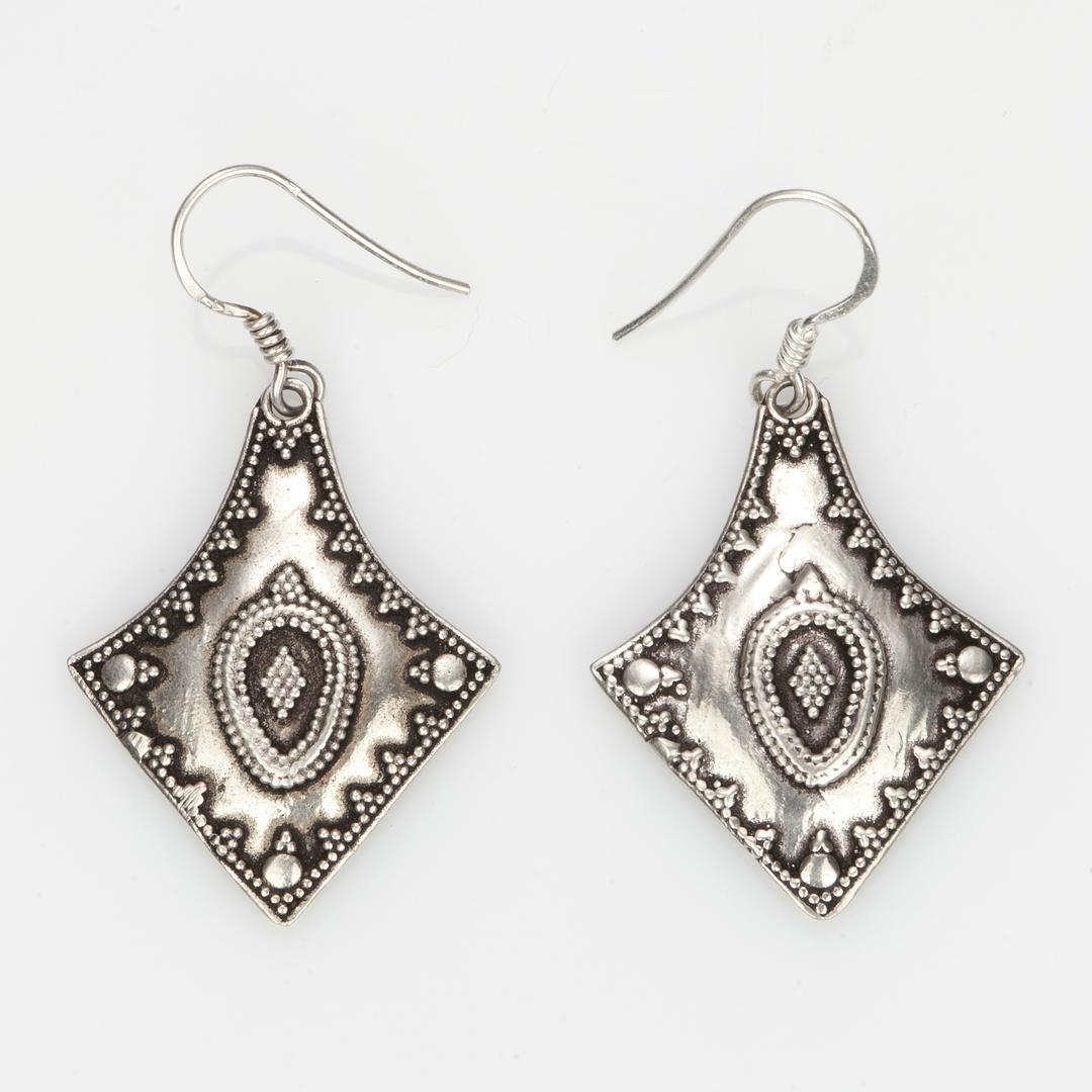 Cercei romb, filigran, argint, India