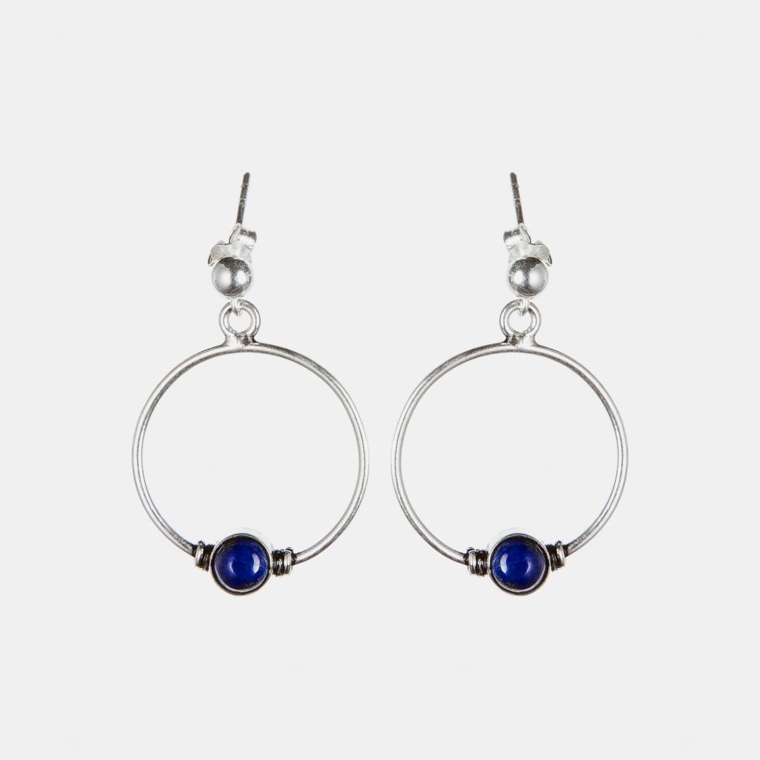 Cercei rotunzi, biluță lapis lazuli, argint, India