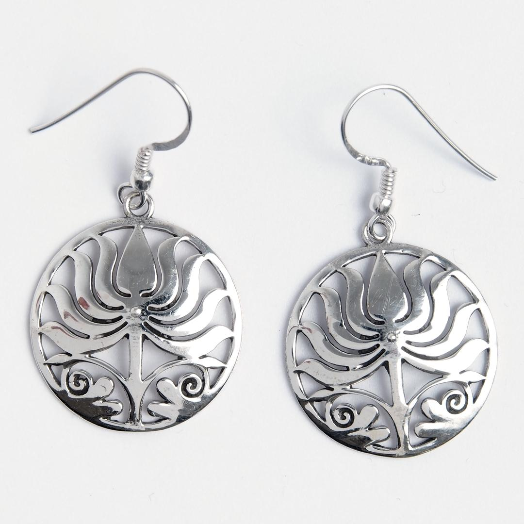 Cercei rotunzi lotus, argint, Nepal