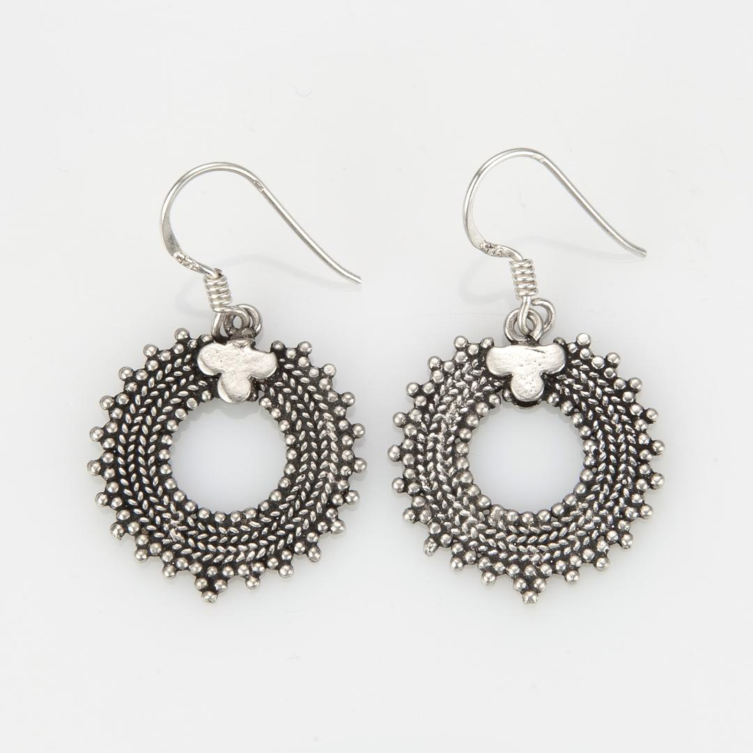 Cercei rotunzi, mici, filigran, argint, India
