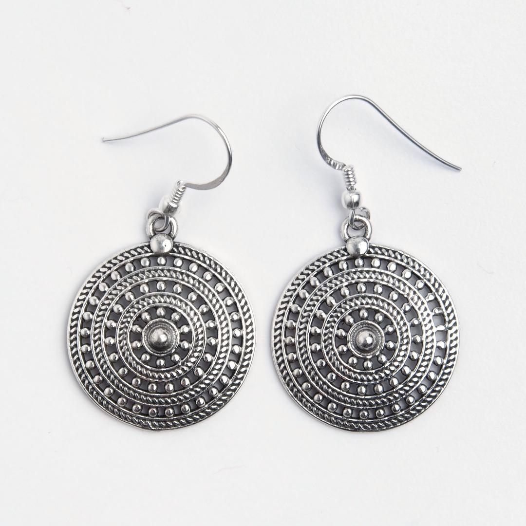 Cercei rotunzi Panaji, argint, India
