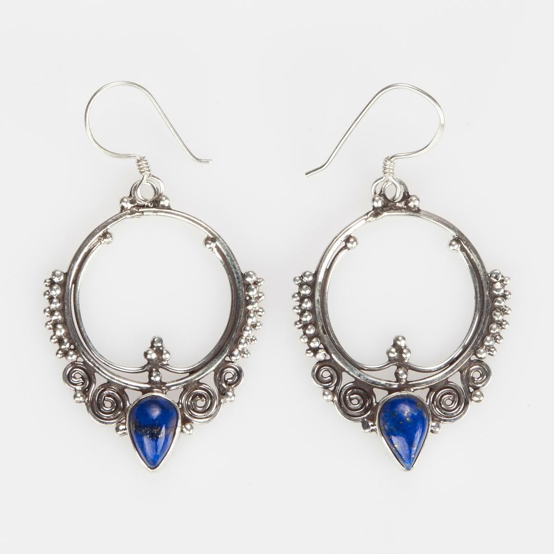Cercei rotunzi, spirale, lacrimă lapis lazuli, argint, Nepal