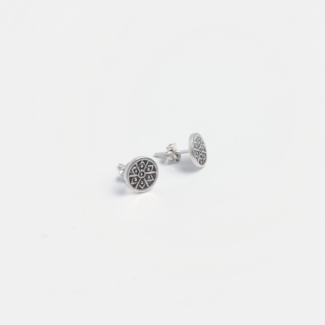 Cercei rotunzi cu șurub Kaew, argint, Thailanda