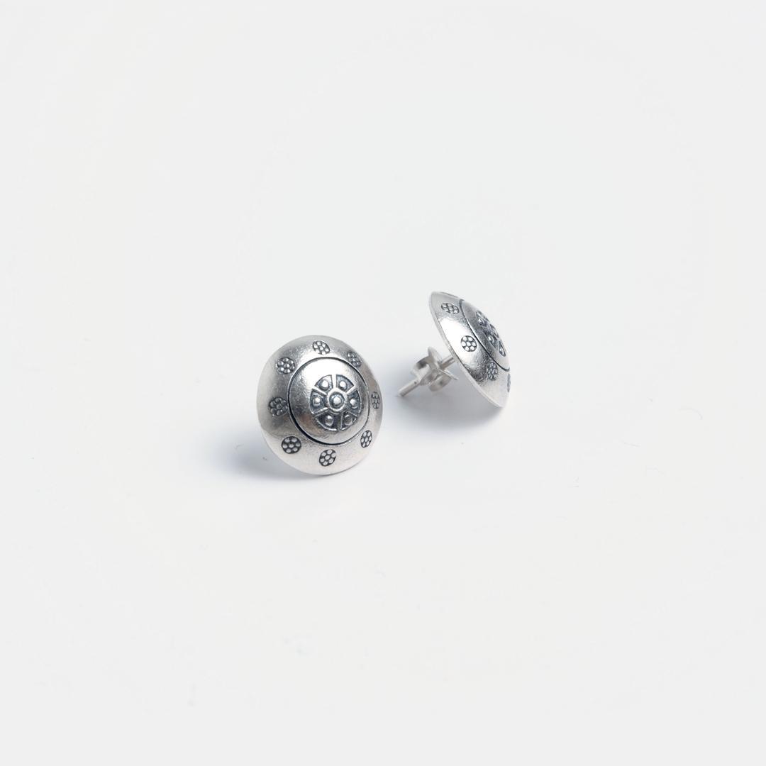 Cercei rotunzi cu șurub Kan, argint, Thailanda