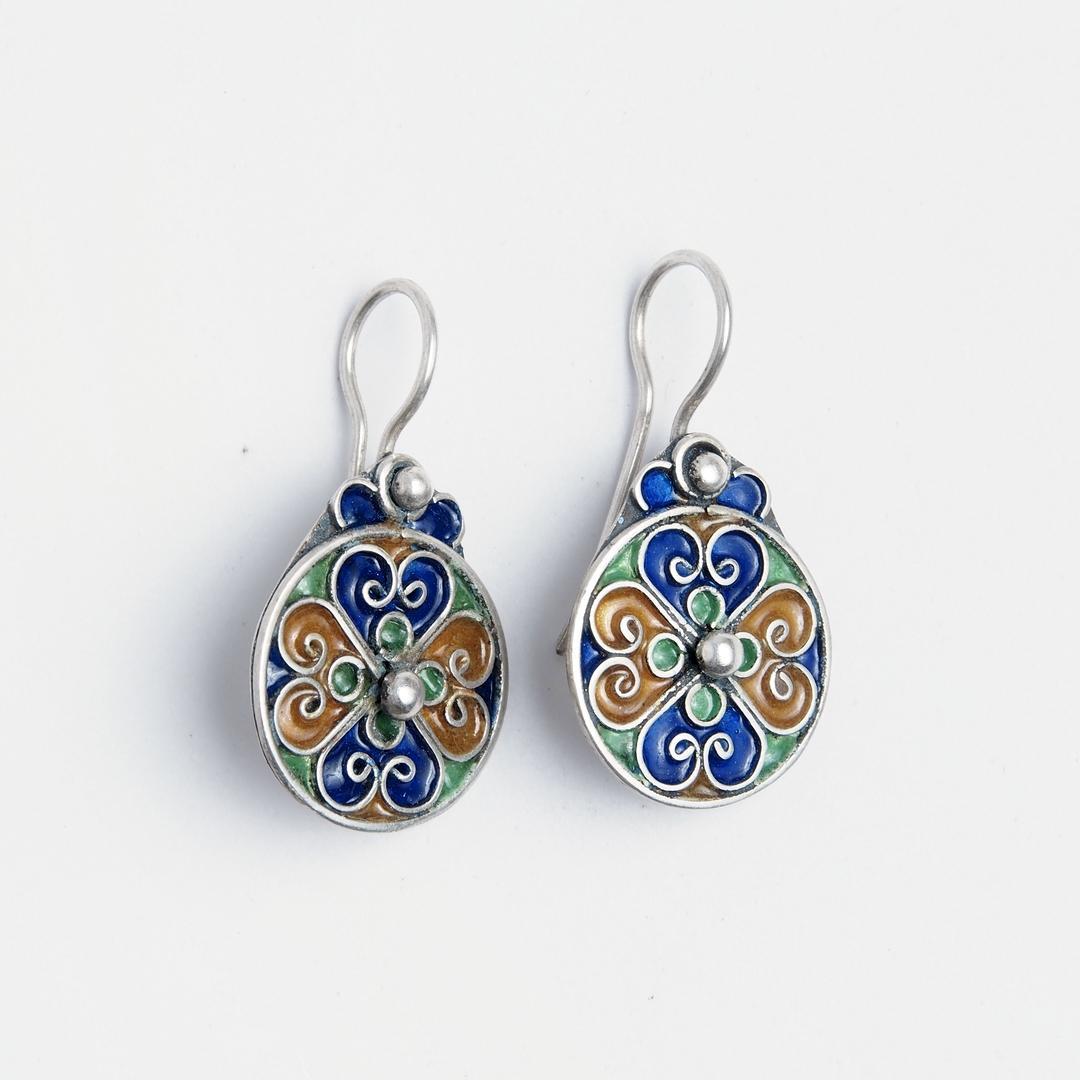 Cercei rotunzi Zaida, argint și email, Maroc