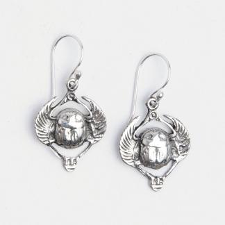 Cercei scarabeu egiptean Khepri, argint, Egipt
