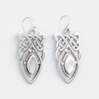 Cercei scut celtic mare, argint și sidef