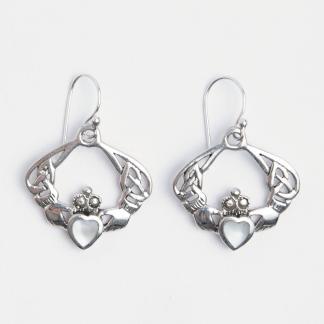 Cercei simbol celtic Claddagh, argint și sidef