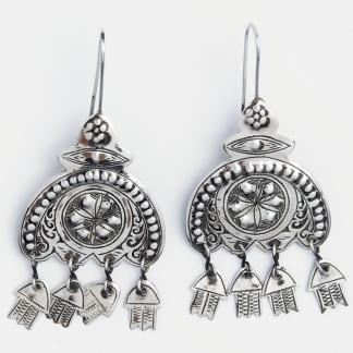 Cercei statement ciucurași hamsa, argint, Maroc