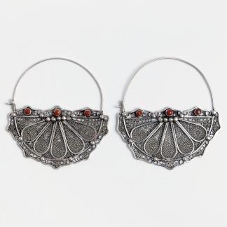 Cercei statement Marrakesh, argint patinat filigranat, coral, Maroc