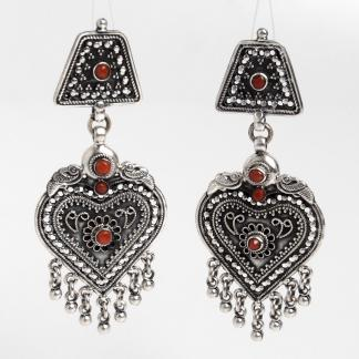 Cercei statement Yoni, argint oxidat și coral, India