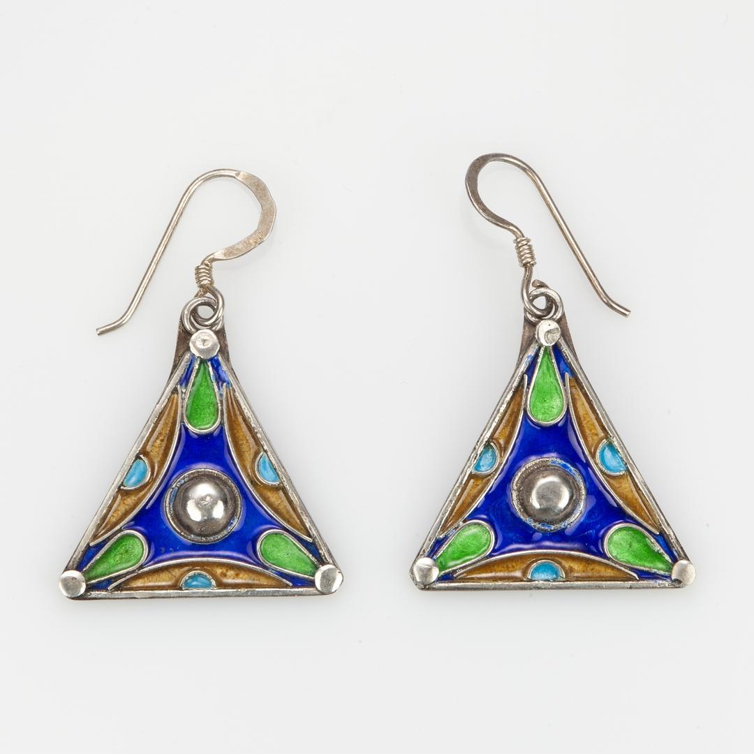 Cercei triunghi, argint și email, Maroc